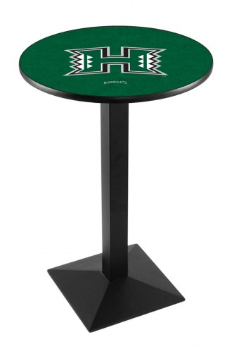 Hawaii Warriors Black Wrinkle Pub Table with Square Base