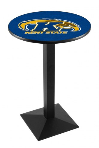 Kent State Golden Flashes Black Wrinkle Pub Table with Square Base