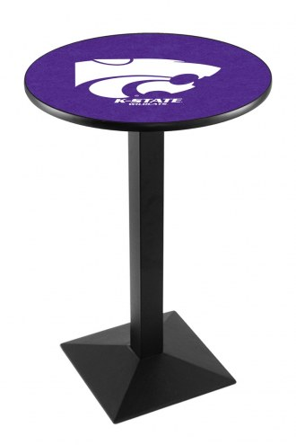 Kansas State Wildcats Black Wrinkle Pub Table with Square Base