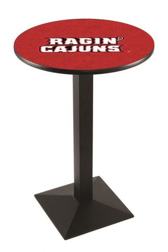 Louisiana Lafayette Ragin' Cajuns Black Wrinkle Pub Table with Square Base
