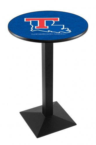 Louisiana Tech Bulldogs Black Wrinkle Pub Table with Square Base