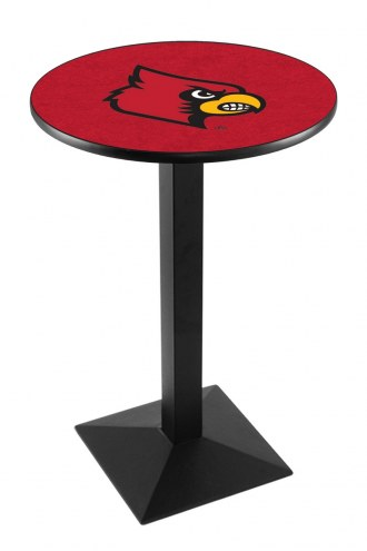 Louisville Cardinals Black Wrinkle Pub Table with Square Base