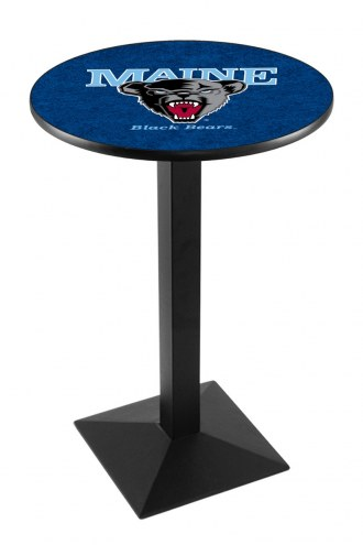 Maine Black Bears Black Wrinkle Pub Table with Square Base