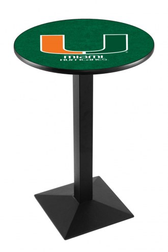 Miami Hurricanes Black Wrinkle Pub Table with Square Base