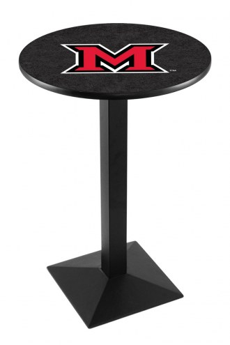 Miami of Ohio RedHawks Black Wrinkle Pub Table with Square Base