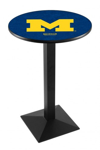 Michigan Wolverines Black Wrinkle Pub Table with Square Base