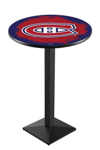 Montreal Canadiens Black Wrinkle Pub Table with Square Base