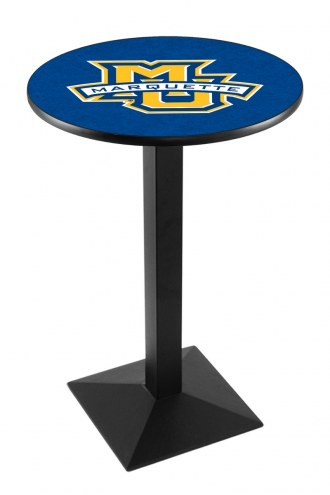 Marquette Golden Eagles Black Wrinkle Pub Table with Square Base