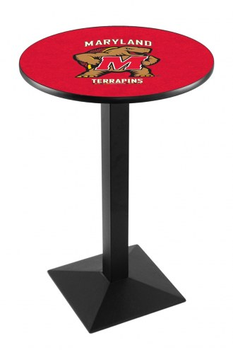 Maryland Terrapins Black Wrinkle Pub Table with Square Base