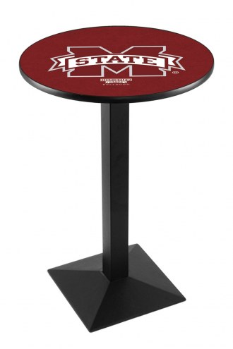 Mississippi State Bulldogs Black Wrinkle Pub Table with Square Base