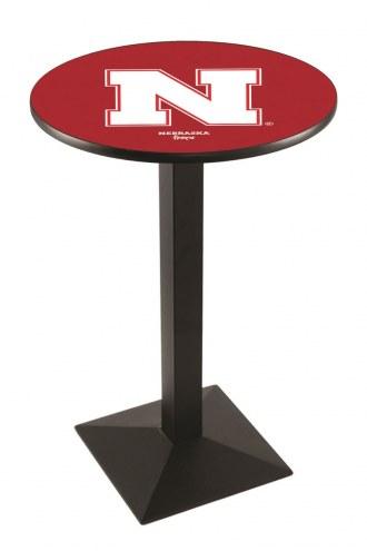 Nebraska Cornhuskers Black Wrinkle Pub Table with Square Base