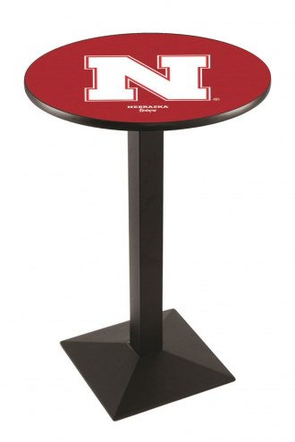 Nebraska Cornhuskers Black Wrinkle Pub Table with Square Base