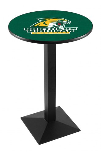 Northern Michigan Wildcats Black Wrinkle Pub Table with Square Base