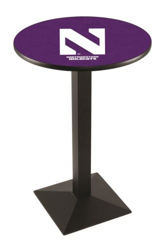 Northwestern Wildcats Black Wrinkle Pub Table with Square Base