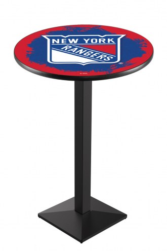 New York Rangers Black Wrinkle Pub Table with Square Base