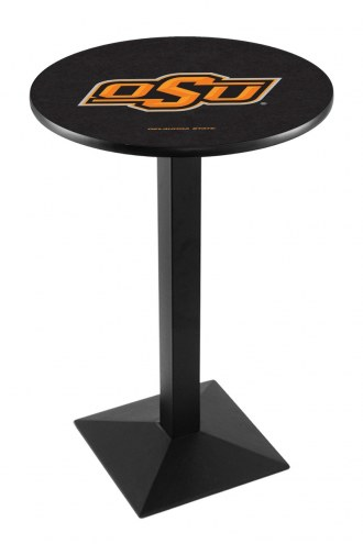 Oklahoma State Cowboys Black Wrinkle Pub Table with Square Base