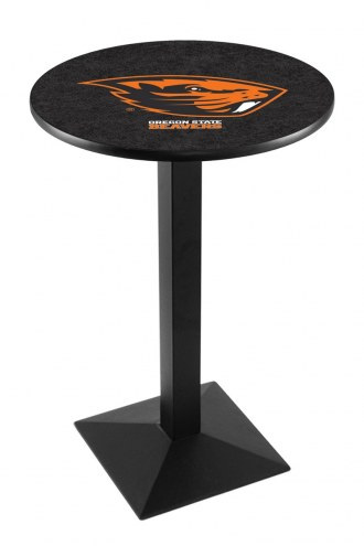 Oregon State Beavers Black Wrinkle Pub Table with Square Base