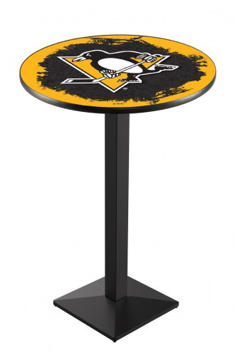 Pittsburgh Penguins Black Wrinkle Pub Table with Square Base