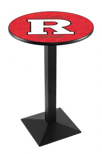 Rutgers Scarlet Knights Black Wrinkle Pub Table with Square Base
