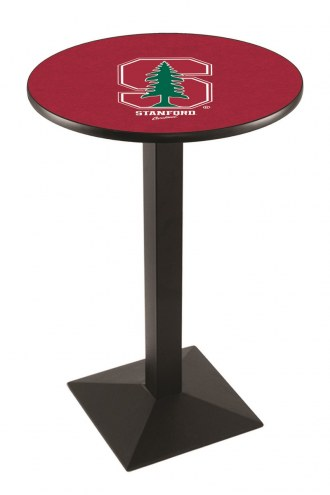 Stanford Cardinal Black Wrinkle Pub Table with Square Base