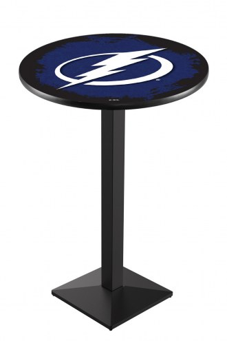 Tampa Bay Lightning Black Wrinkle Pub Table with Square Base