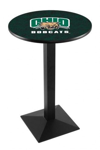 Ohio Bobcats Black Wrinkle Pub Table with Square Base