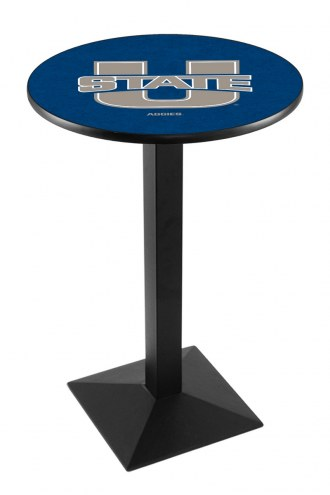 Utah State Aggies Black Wrinkle Pub Table with Square Base