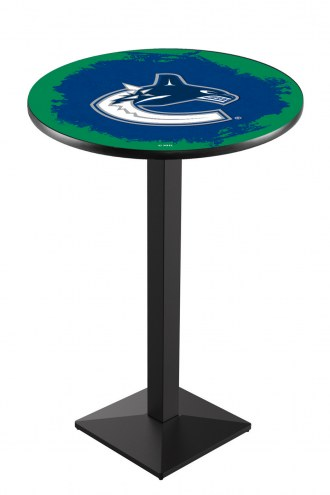 Vancouver Canucks Black Wrinkle Pub Table with Square Base