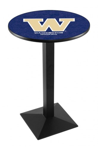 Washington Huskies Black Wrinkle Pub Table with Square Base