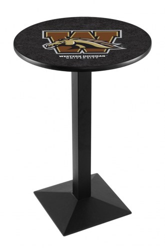 Western Michigan Broncos Black Wrinkle Pub Table with Square Base
