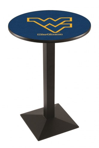 West Virginia Mountaineers Black Wrinkle Pub Table with Square Base
