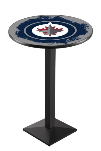 Winnipeg Jets Black Wrinkle Pub Table with Square Base