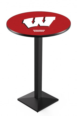 """Wisconsin Badgers """"W"""" Black Pub Table with Square Base"""
