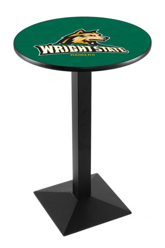 Wright State Raiders Black Wrinkle Pub Table with Square Base