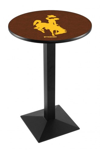 Wyoming Cowboys Black Wrinkle Pub Table with Square Base