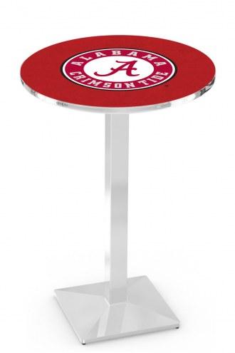 Alabama Crimson Tide Script A Chrome Bar Table with Square Base