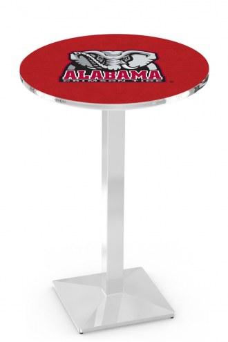 Alabama Crimson Tide Chrome Bar Table with Square Base