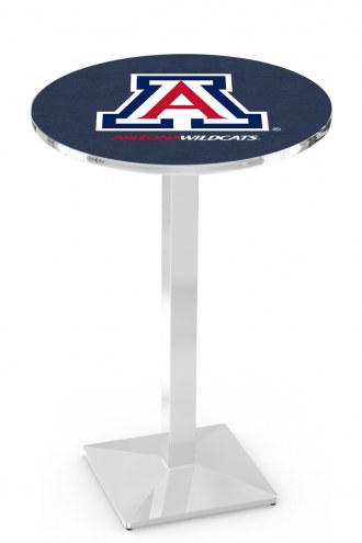 Arizona Wildcats Chrome Bar Table with Square Base