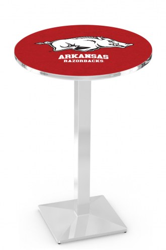 Arkansas Razorbacks Chrome Bar Table with Square Base