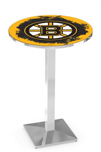 Boston Bruins Chrome Bar Table with Square Base