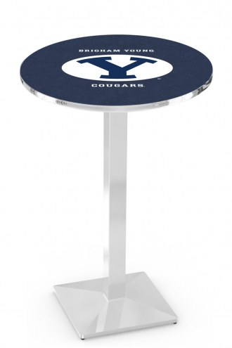BYU Cougars Chrome Bar Table with Square Base