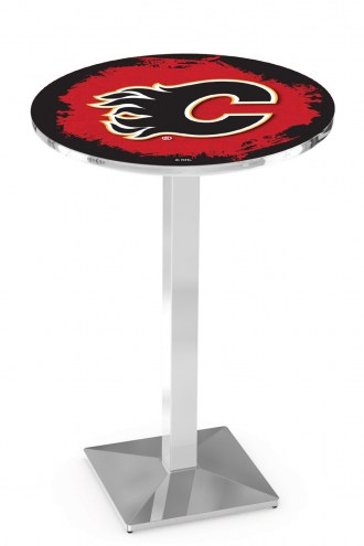 Calgary Flames Chrome Bar Table with Square Base