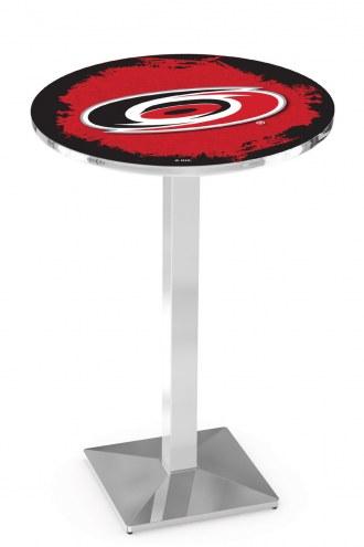 Carolina Hurricanes Chrome Bar Table with Square Base