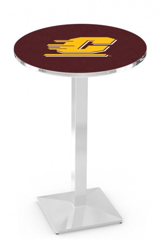 Central Michigan Chippewas Chrome Bar Table with Square Base