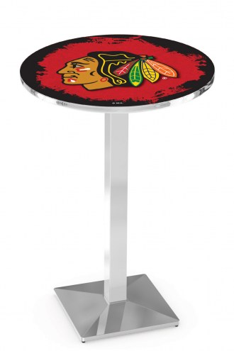 Chicago Blackhawks NHL Chrome Bar Table with Square Base