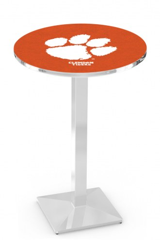 Clemson Tigers Chrome Bar Table with Square Base