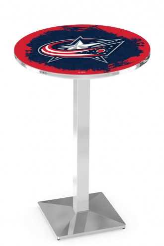 Columbus Blue Jackets Chrome Bar Table with Square Base