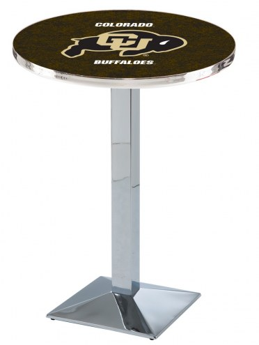 Colorado Buffaloes Chrome Bar Table with Square Base