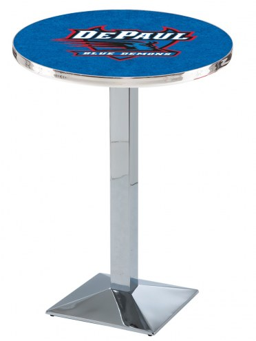 DePaul Blue Demons Chrome Bar Table with Square Base