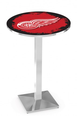 Detroit Red Wings Chrome Bar Table with Square Base